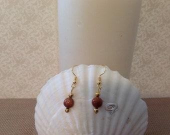 Brown goldstone dangle earrings