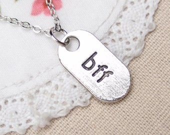 "best friend forever necklace, gift for her, Best Friend necklace, oval charm with ""bff"" necklace, gift for sister, sisters sorority, mom"