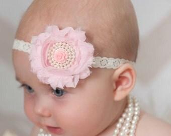 Baby Headband,Pink Baby Headband,Newborn Headband, Baptism Headband,Easter Headband,Baby girl Headband,Shabby chic Headband,Baby Hair Bows.