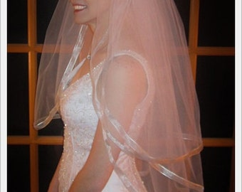 3 Tier Wedding Veil Metallic Silver Edge - Fingertip Length