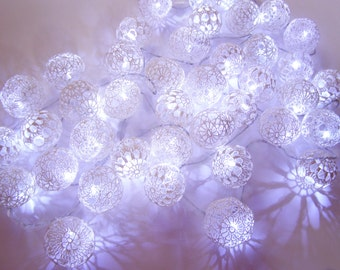 String LED Lights, Fairy Lights, Night Lights, Party Lighting, Wedding Lights, Bedroom Decor Lamp, 100 Crocheted  balls, unique lights