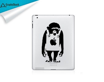 Banksy Monkey iPad Decal Gift Idea for Him & Gift Idea for Her fits iPad iPad 2 ipad 3 ipad 4 Retina Mini iPad and other tabs cars etc