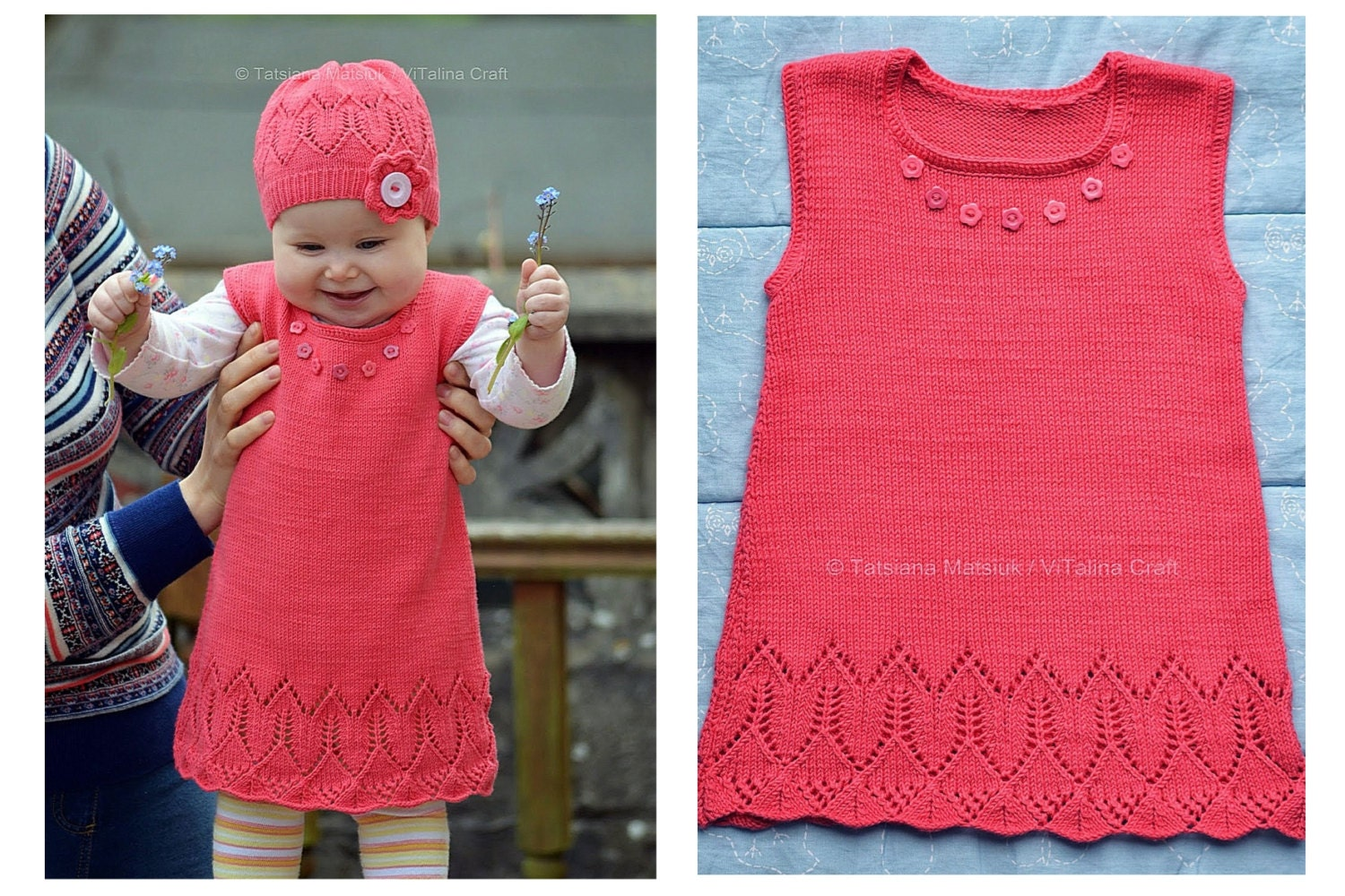 Knitting Patterns For Baby Tunics : Knitting Pattern Coralline Flower Tunic Baby and Child