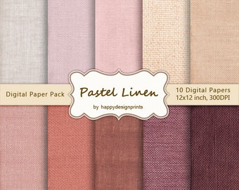 "Pastel Burlap Canvas Linen Fabric Digital Paper Pack of 10, 300 dpi, 12""x12"" Instant Download Pattern Paper Scrapbooking, Invites, Cards JPG"