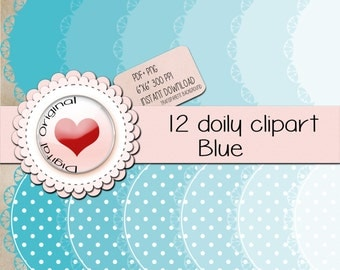"""12 Blue doily labels.12PNG(clipart) with transparent background.+12pdf sheetsJPG.High quality, 6""""x6"""" (576x576pixels) 300 PPP."""