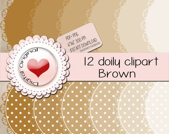 """12 Brown doily labels.12PNG(clipart) with transparent background.+12pdf sheetsJPG.High quality, 6""""x6"""" (576x576pixels) 300 PPP."""