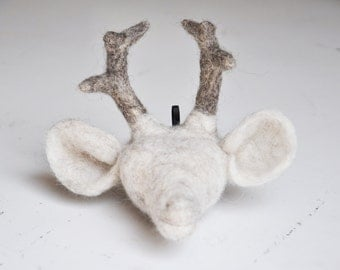 Handmade Abstract goats head-faux taxidermy-needlefelted animal head
