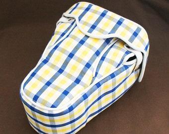 DSLR Camera Bag Case  : Blue & Yellow check