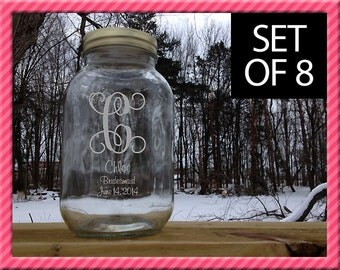 Personalized Mason Jars, Set of 8, Personalized with etched Vine Initial or Monograms, Bridesmaids Gift Wedding