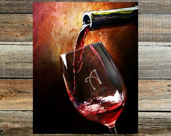 Engraved  Wine Glass Print~  Custom made  - Wedding or Anniverary Gift