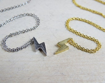 Tiny Lightning necklace, gold lightning necklace, silver lightning necklace, thunder bolt necklace, Tiny lightning bolt necklace