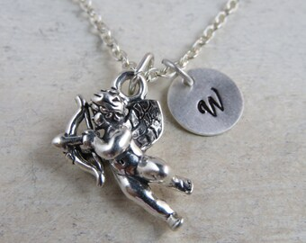 Sterling silver Cupid necklace, wedding gift, anniversary gift, cupid charm, gift for her, I love you gift, valentines day gift