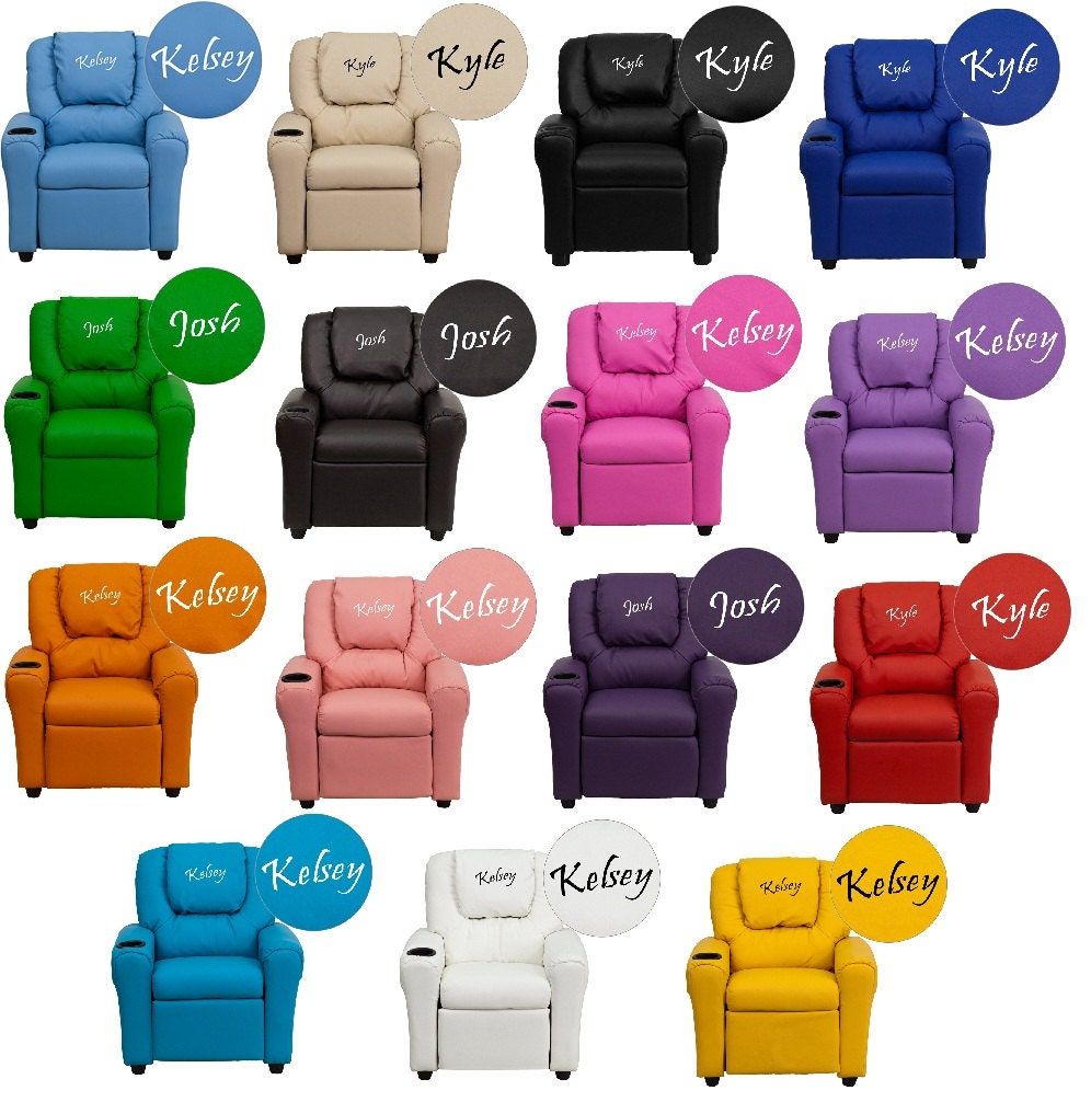 Kids personalized recliner arm chairs embroidered chairs for Kids recliner chair