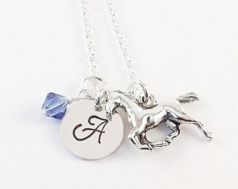 Personalized Initial Birthstone Horse Necklace, Equestrian Necklace, Pony Charm Necklace with Horse Charm and Swarovski Crystal Birthstone