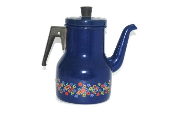 Blue Enamel Coffee pot with Flowers - Blue Enamelware Teapot