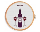 Wine cross stitch pattern - INSTANT DOWNLOAD - red purple glass bottle corkscrew collectible royal wine for two persons
