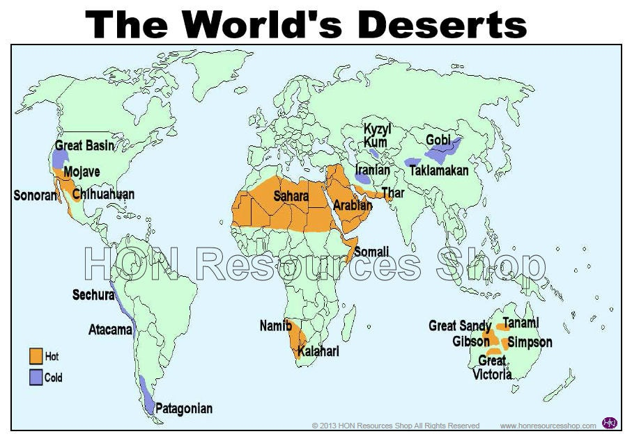 deserts of the world map labeled