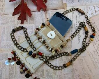 Kuchi Fiber Art Cell Phone Cross Body Pouch fits iPhone or Samsung Galaxy S4