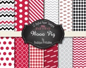 Woo Pig Razorback digital papers - 12x12 and 8.5x11 300 dpi