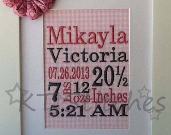 Subway Art Birth Announcement * Shower Gift * Nursery Decoration * Baby Gift * Keepsake * Newborn * Wall Art * Nursery Gift