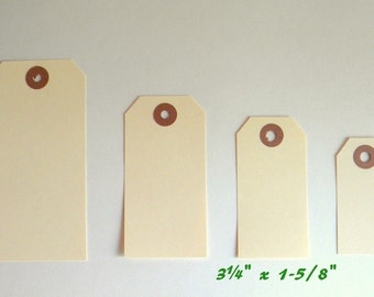 "25 Small 3 1/4"" x 1 5/8"" Manila Tags, Parcel Tags, Hang Tags, Kraft Reinforced Holes, Shipping Tag, Gift wrapping, Scrapbooking"