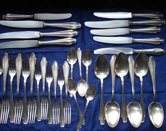 Rostfrei V. Ferrari, Salzburg Austrian Silver Plate Flatware, 32 pieces, plus bonus