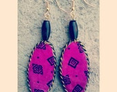 Hot Pink unique handmade oval shaped beaded african print dangler earrings