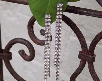 Long Vintage Rhinestone Chain Drop Post Earrings