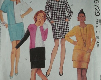 Misses One or Two-Piece Dress Sizes 12-14-16 McCalls Fashion Basics Pattern 5729 Cut-To-Fit  UNCUT Pattern 1991