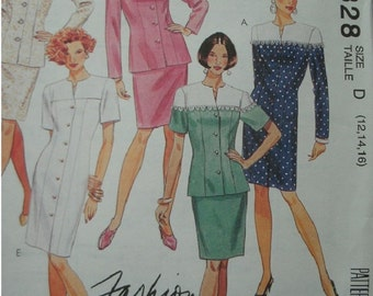 Misses One or Two-Piece Dresses Sizes 12-14-16 McCalls Fashion Basics Pattern 6328 Petite-Able Select-A-Size NEW UNCUT Pattern 1993