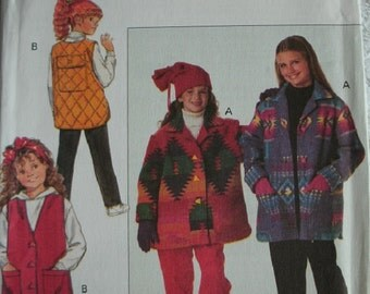 Girls Jacket, Vest & Pants Girls Size 7-8-10 Butterick Pattern 3169 Rated Easy to Sew  UNCUT Pattern 1993