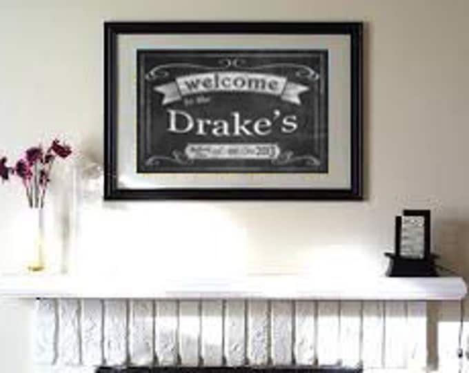 Personalized Welcome to/Family Established Sign/Family Name, date and location- chalkboard style - Rustic collection