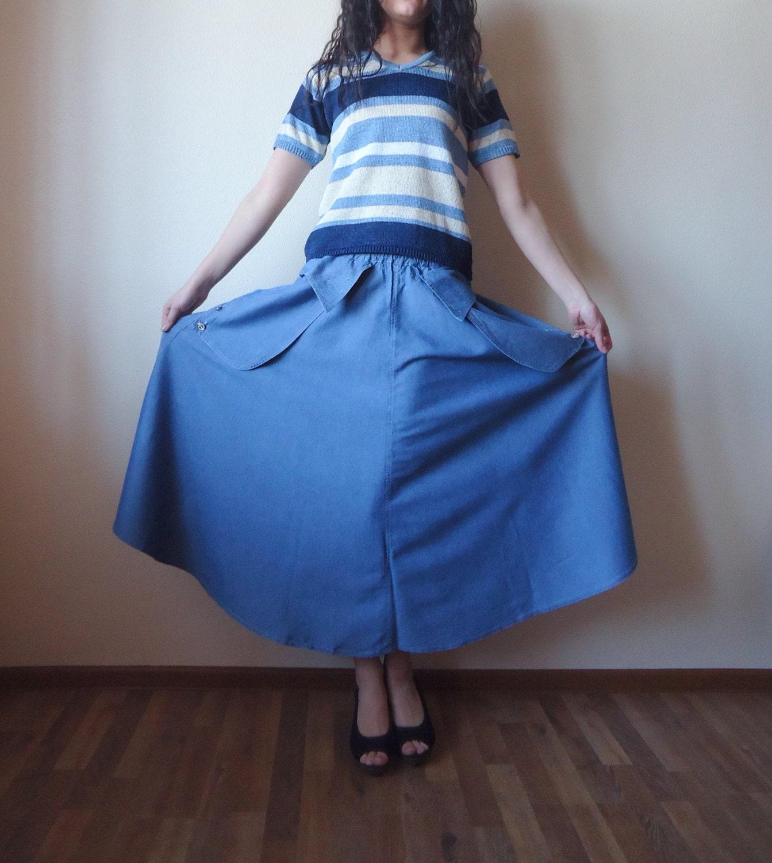 light blue denim jean skirt oversized elastic by vintageagency