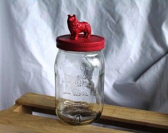 Pink dog jar, Border Collie