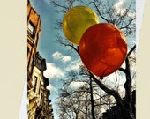 Party in Brooklyn - Bright Balloons and Brownstones - 4x5.5 Eco Friendly Postcard or Folded Note Card - Fine Art Photography
