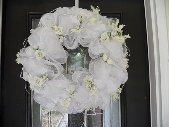 Bridal shower wreath decoration door hanger wedding gift for Wedding door decorating ideas