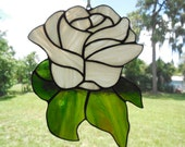 Handmade Stained Glass White Pink Rose Flower Suncatcher Summer Gift