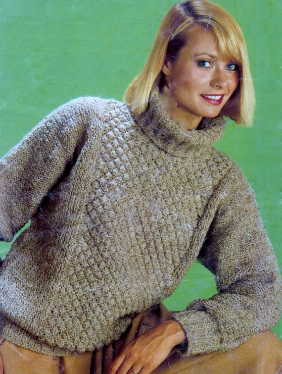 Knitting Pattern For Tortoise Jumper : Ladies Turtle Neck Chunky knit Sweater / Jumper for sizes 32