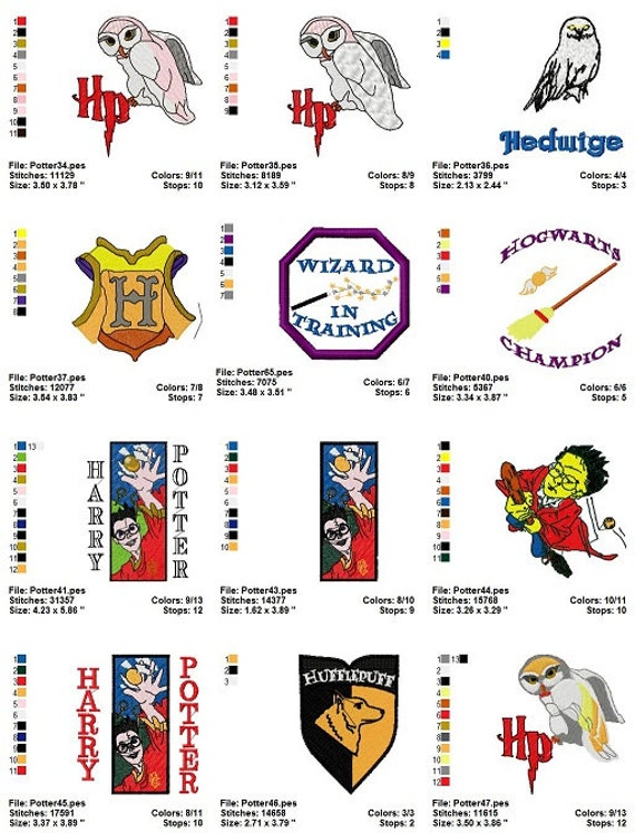 Harry potter character embroidery machine designs pack instant