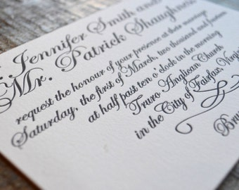 Elegant Script - Letterpress Wedding Invitation