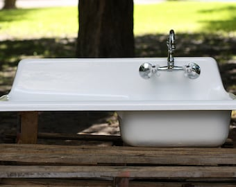 Industrial Refinished Cast Iron 1948 Single Basin