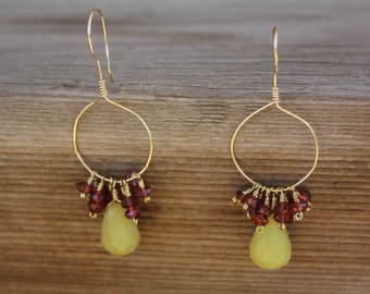 Cut bordeaux garnet and lemon jade dangly hoops