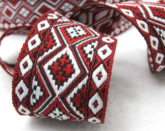 2 Yards 1 3/8 Inches Red and White Woven Embroidery Trim|Thick|Floral Pattern|Curtain Decoration|Supplies|Ribbon Trim|Clothing|Cushion Cover