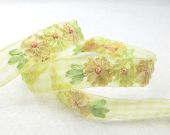 5 Colors|3/4 inchEmbroidered Floral Checkered Ribbon Trim|Three Flowers in a Row|Unique|Colorful|Woven Chiffon Organza Ribbon