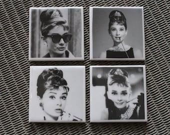 Audrey Hepburn ceramic coasters, Movie Star set of 4, housewarming gift