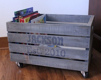 Customized Wooden Crate w/ Wheels - Perfect Storage Solution