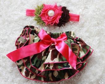 hot pink army baby Girl headband and Ruffle Bum Baby Bloomer,red black Diaper Cover, Ruffle Bum, Newborn Headband Set - Photo Prop