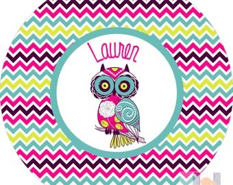 Personalized girls chevron owl plate! A custom, fun and UNIQUE gift idea!
