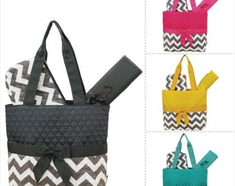 FREE MONOGRAM  Quilted White & Grey Chevron Print 3pc Diaper Bag