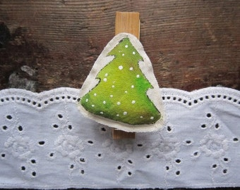Hand-made wooden clips with christmas tree